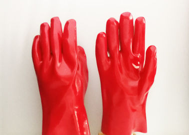 Long Sleeve PVC Coated Gloves Fully Dipping Silk Screen Logo Printing