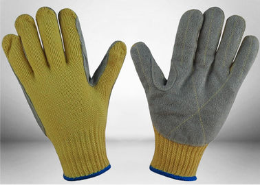 Cow Split Leather Cut Resistant Gloves 7 Gauge Aramid Knitted Fully Protective